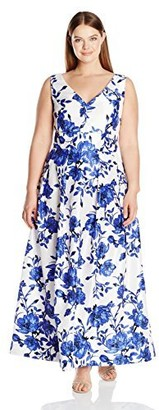 Sangria Women's Size Floral Gown Plus