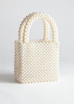 And other stories Pearlescent Beaded Clutch Bag