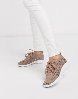 Miss KG kathy embelllished knitted sneakers in pink