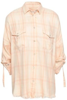 IRO Frayed Checked Cotton-blend Flannel Shirt