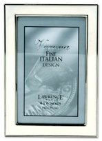 Lawrence Frames Silver Plated 4 by 6 Metal with White Enamel Picture Frame