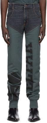 Telfar Black and Blue Sweatpant Jeans