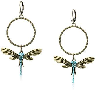 """Betsey Johnson Throwback Betsey"""" Pave Dragonfly Gypsy Hoop Earrings"""