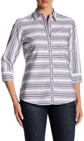 Foxcroft 3/4 Length Sleeve Variegated Stripe Shirt