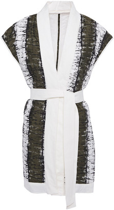 By Malene Birger Tie-front Printed Linen And Cotton-blend Vest