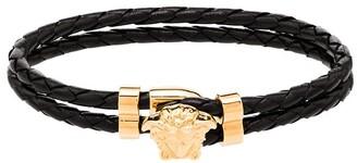 Versace Medusa Head-Embellished Leather Bracelet