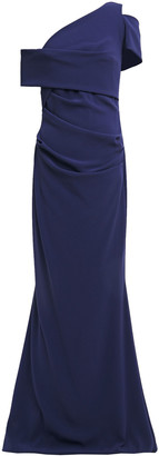 Talbot Runhof One-shoulder Ruched Stretch-crepe Gown