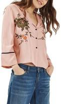Topshop Women's Embroidered Kimono Shirt