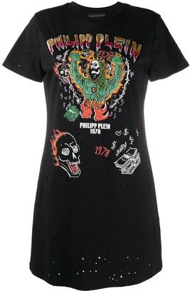 Philipp Plein graffiti-print T-shirt dress