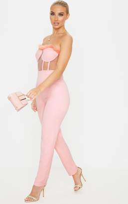 PrettyLittleThing Baby Pink Faux Fur Trim Cup Detail Bandeau Jumpsuit