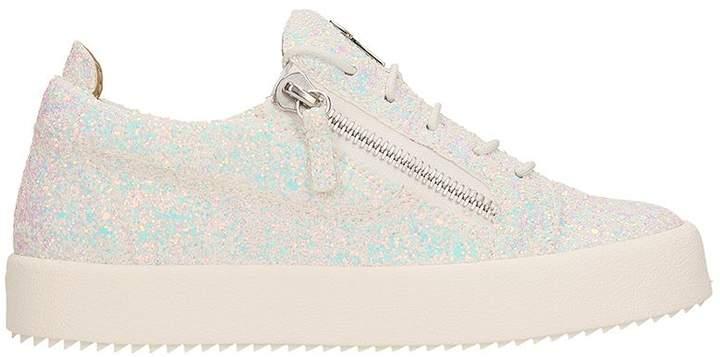 Giuseppe Zanotti Cheryl Glitter White Leather Low Top Sneakers