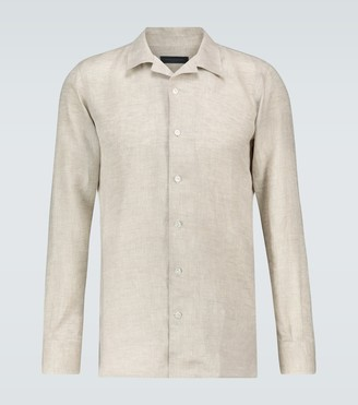 Linen camp-collar shirt