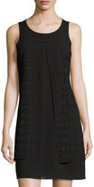 Neiman Marcus Laser-Cut Chiffon Shift Dress, Black