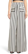 KENDALL + KYLIE Stripe High Rise Wide Leg Silk Pants