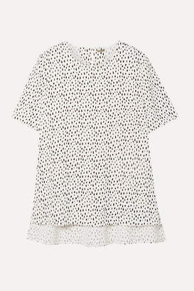 ADAM by Adam Lippes Printed Crepe Top - White