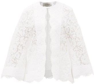 Valentino Fluted-sleeve Guipure-lace Jacket - White