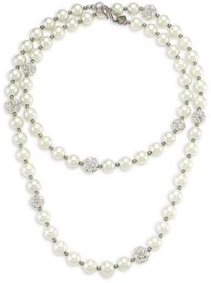 Kenneth Jay Lane 2-Strand Glass Pearl & Crystal Fireball Station Necklace