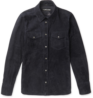 Tom Ford Slim-Fit Suede Shirt - Men - Blue
