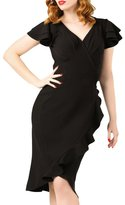 Eiffel Store Eiffel Womens Vintage 50s Flutter Sleeve Wrap Ruffled Club Prom Dress
