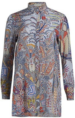 Etro Dreamtime Paisley Silk Tunic Blouse