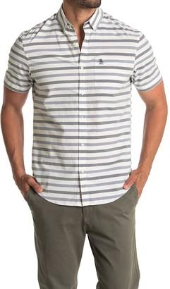Original Penguin Short Sleeve Horizontal Stripe Print Slim Fit Woven Shirt