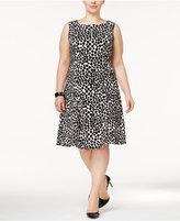 Kasper Plus Size Dot-Print Scuba A-Line Dress