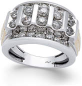 Macy's Men's Diamond Cluster Two-Tone Ring (3 ct. t.w.) in 10k Gold and White Gold