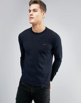 Armani Jeans Crew Knit Jumper Logo Regular Fit In Navy