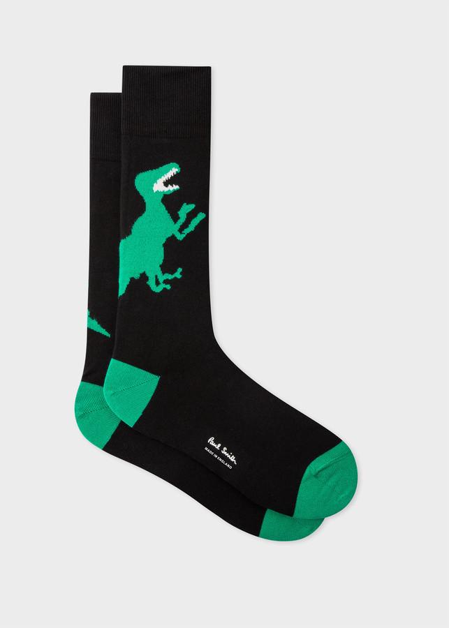 Paul Smith Men's Black And Green 'Dino' Socks