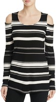 Red Haute Stripe Cold Shoulder Sweater