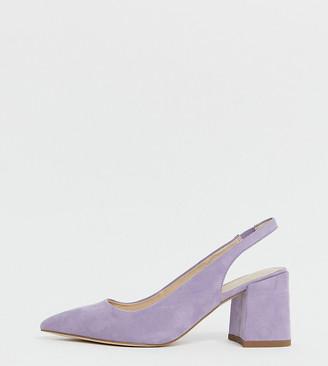 Asos DESIGN Wide Fit Samson slingback mid heels in lilac