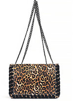 Jessica Simpson Zamia Velvet Whip-Stitched Leopard-Print Convertible Cross-Body Bag