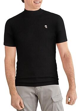 Karl Lagerfeld Paris Caricature Ribbed Short-Sleeve Sweater