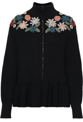 RED Valentino Floral-appliqued Ribbed Wool Cardigan