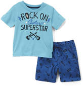 Nannette Kids Boys' Casual Shorts BLUE - Blue 'Rock On' Tee & Twill Shorts - Toddler