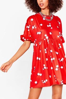 Nasty Gal Womens Floral Ruffle Sleeve Mini Dress - Red - 8