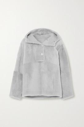 Yves Salomon Lacon Hooded Shearling Jacket - Light gray