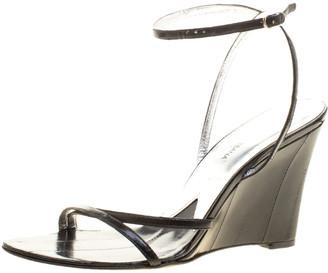 Dolce & Gabbana Black Leather Wedge Sandals Size 39