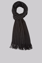 Moss Bros Black Knitted Stripe Scarf