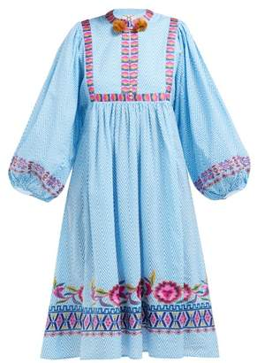 Figue Nora Geometric Embroidered Striped Cotton Dress - Womens - Blue Stripe