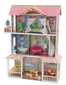 Kid Kraft Sweet Savannah Wooden Pretend Play House Doll Dollhouse with Furniture