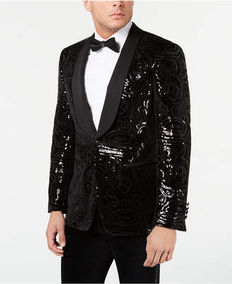 Tallia Men Slim-Fit Black Sequined Velvet Dinner Jacket