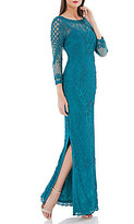 JS Collections Ribbon Soutache Illusion Sleeve Gown
