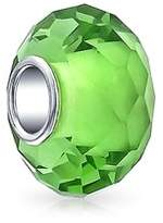 Bling Jewelry 925 Silver Simulated Peridot Glass Faceted Bead Charm.