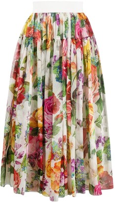 Dolce & Gabbana Pleated Floral Skirt
