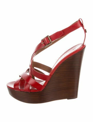 Burberry Leather Slingback Sandals Red