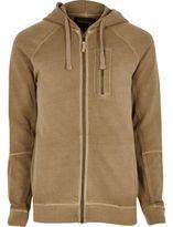 River Island Mens Stone zip pocket hoodie