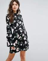 AX Paris Black Floral Mini Dress With Long Frill Bell Sleeves