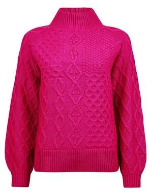 Dorothy Perkins Womens Pink High Neck Cable Jumper, Pink