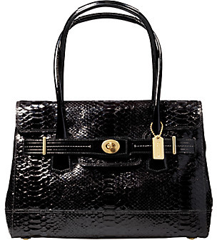 Coach Hamptons Embossed Python Flap Tote